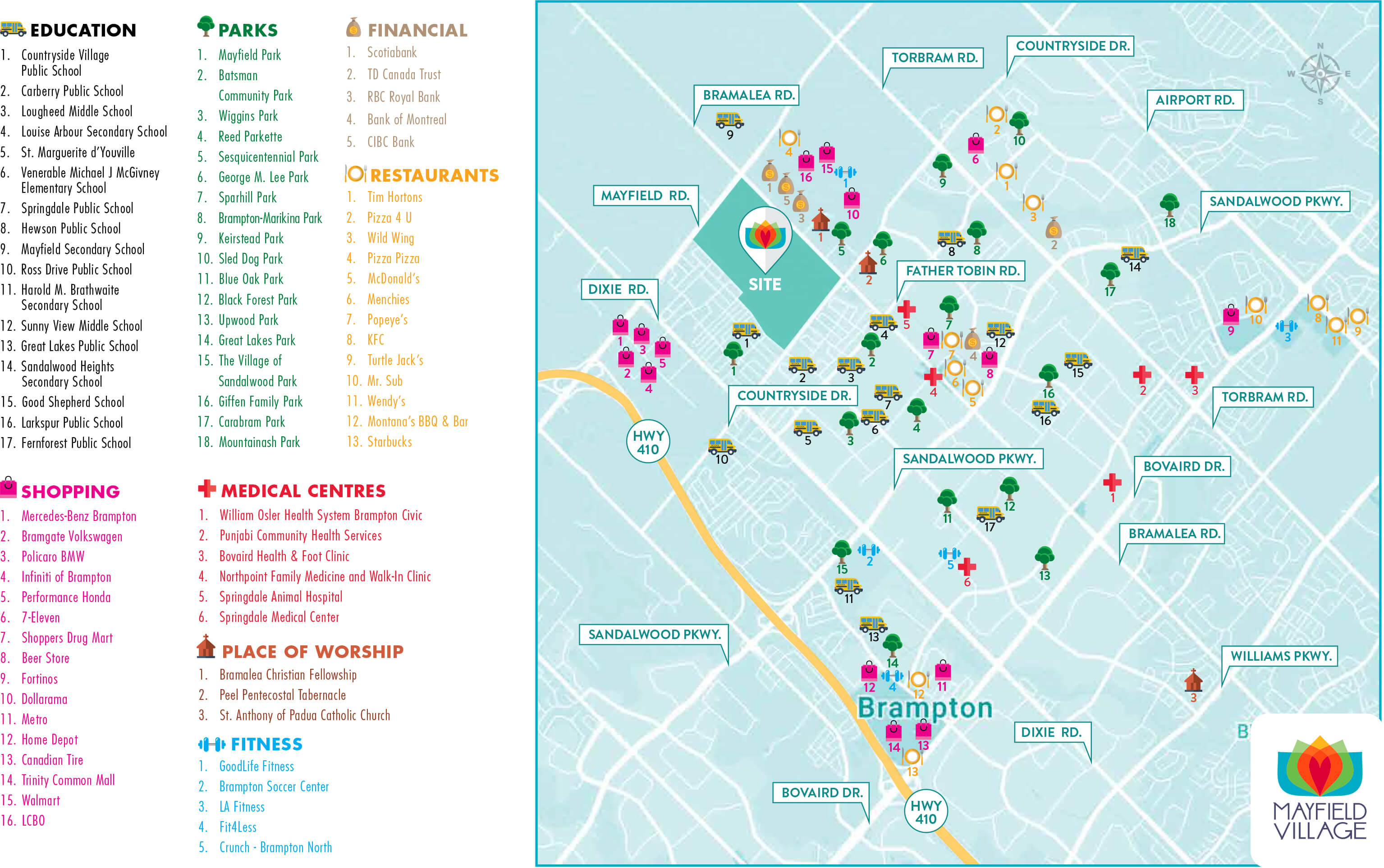 Mayfield Village Amenities Map